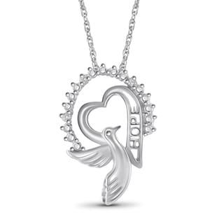 Jewelonfire Sterling Silver White Diamond Accent Hope Pendant