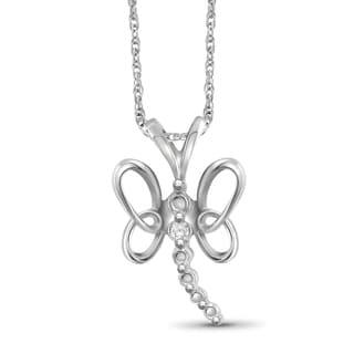 Jewelonfire Sterling Silver White Diamond Accent Butterfly Pendant