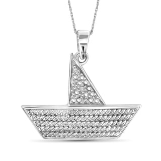 Jewelonfire Sterling Silver White Diamond Accent Boat Pendant