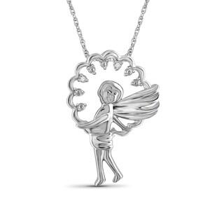 Jewelonfire Sterling Silver White Diamond Accent Angel Boy Pendant