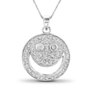 Jewelonfire Sterling Silver White Diamond Accent Smile face Pendant