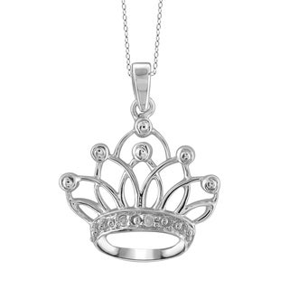 Jewelonfire Sterling Silver White Diamond Accent Crown Pendant