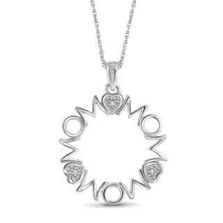 Jewelonfire Sterling Silver White Diamond Accent MOM Pendant