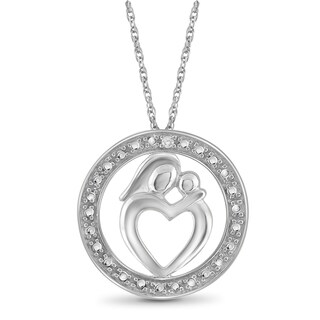 Jewelonfire Sterling Silver White Diamond Accent Mom-Child Pendant