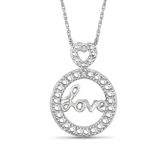 Jewelonfire Sterling Silver White Diamond Accent Love Pendant