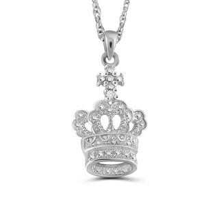 Jewelonfire Sterling Silver White Diamond Accent Crown Pendant