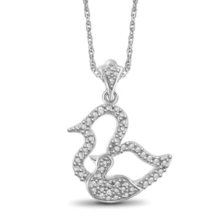 Jewelonfire Sterling Silver White Diamond Accent Motherly Duck Pendant