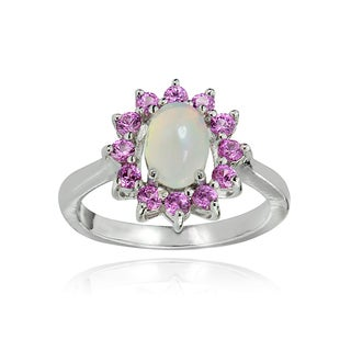 Glitzy Rocks Sterling Silver Ethiopian Opal and Created Pink Sapphire Oval Flower Ring