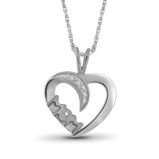 Jewelonfire Sterling Silver White Diamond Accent Heart-Mom Pendant