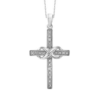 Jewelonfire Sterling Silver White Diamond Accent Infinity Cross Pendant