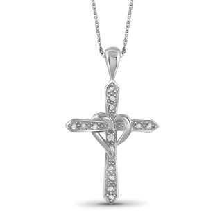 Jewelonfire Sterling Silver White Diamond Accent Heart Cross Pendant
