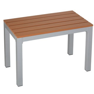 Cortesi Home Avery Brown Aluminum and Plastic Outdoor Ottoman Bench/Table