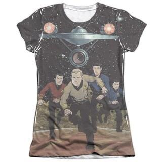 Star Trek/Running (Front/Back Print) Short Sleeve Junior Poly/Cotton Crew in White