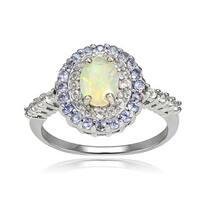 Glitzy Rocks Sterling Silver Ethiopian Opal and Gemstone Oval Ring