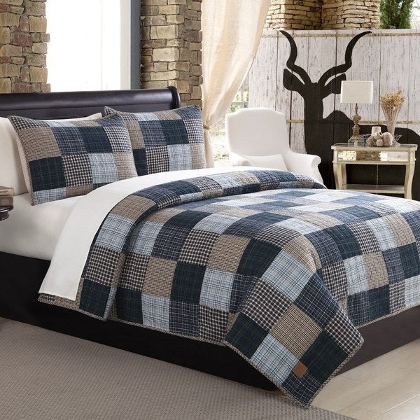 Mountain Home Ridgecrest Ii Blue Patchwork 3 Piece Quilt