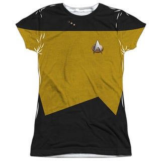 Star Trek/Tng Engineering Uniform (Front/Back Print) Short Sleeve Junior Poly Crew in White