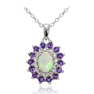 Glitzy Rocks Sterling Silver Ethiopian Opal and African Amethyst with White Topaz Oval Flower Necklace