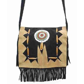 Black Leather/Suede Fringed Beaded Handbag