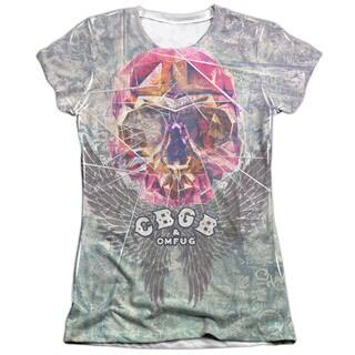 Cbgb/Graffiti Skull Short Sleeve Junior 65/35 Poly/Cotton Crew in White