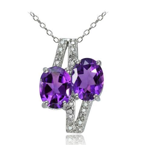 Glitzy Rocks Sterling Silver Gemstone and Diamond Accent Friendship Necklace