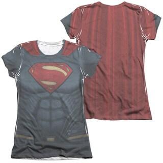 Batman V Superman/Superman Uniform (Front/Back Print) Short Sleeve Junior 65/35 Poly/Cotton Crew in White
