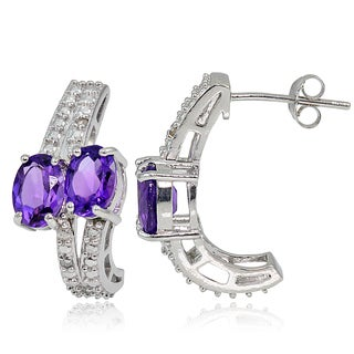 Glitzy Rocks Sterling Silver 3ct TGW Gemstone and Diamond Accent Friendship Earrings