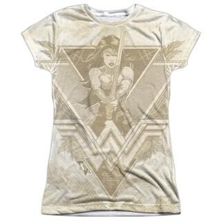 Batman V Superman/Greek Goddess Short Sleeve Junior 100-percent Poly Crew in White