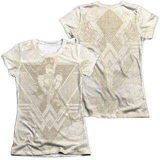 Batman V Superman/Greek Goddess (Front/Back Print) Short Sleeve Junior 65/35 Poly/Cotton Crew in White