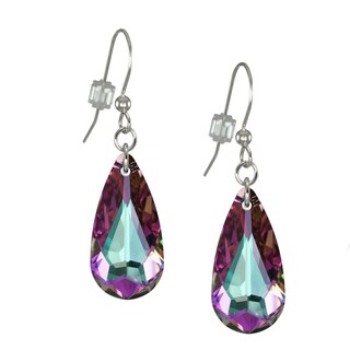 Handmade Jewelry by Dawn Light Vitrail Swarovski Crystal Teardrop Sterling Silver Earrings (USA)