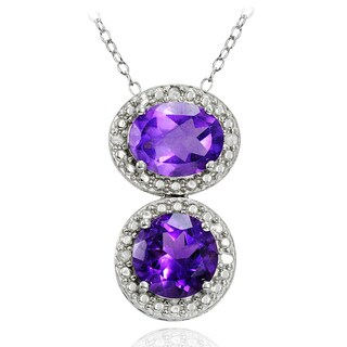 Glitzy Rocks Sterling Silver Gemstone and Diamond Accent Friendship Necklace