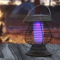 2 in 1 Ultraviolet Mosquito Bug Zapper and LED Tent or Patio Lantern - Portable Solar Powered Nontoxic Light by Wakeman Outdoors