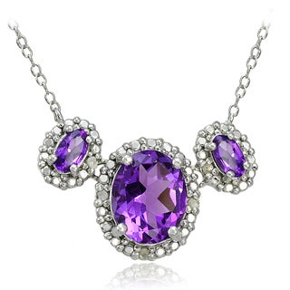 Glitzy Rocks Sterling Silver Gemstone and Diamond Accent Three Stone Necklace