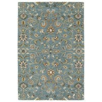 """Hand-Tufted Perry Turquoise All-Over Wool Rug - 5' x 7'9"""""""