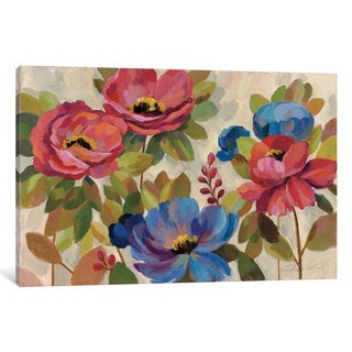 iCanvas Coral and Blue Flowers by Silvia Vassileva Canvas Print