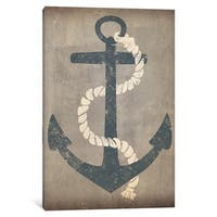 iCanvas Nautical Anchor (Grey) by Ryan Fowler Canvas Print