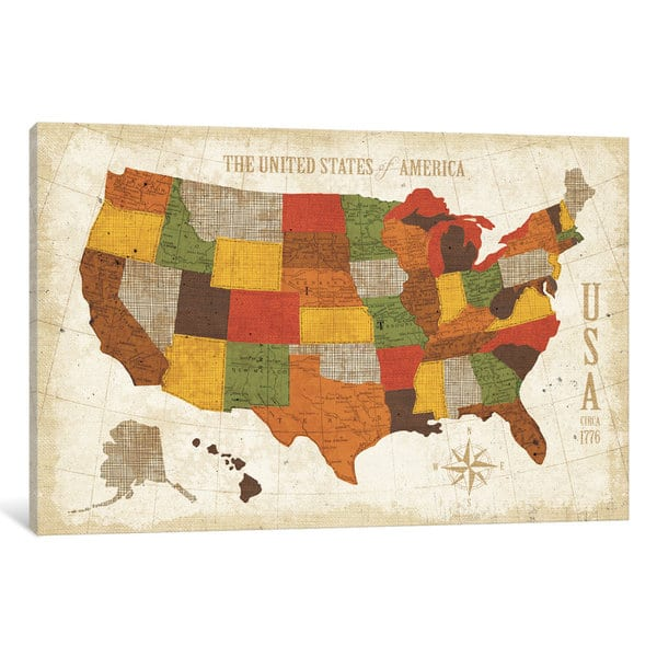 Modern Us Map.Shop Icanvas Us Map Modern Vintage Spice By Michael Mullan Canvas