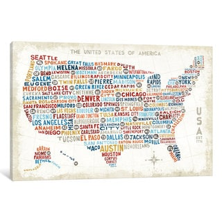 iCanvas US City Map by Michael Mullan Canvas Print