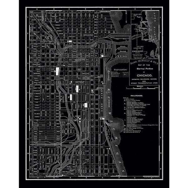 Chicago Map Canvas.Shop Chicago 1985 Vintage Map Stretched Canvas Wall Art On Sale