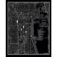 Chicago 1985 Vintage Map Stretched-canvas Wall Art