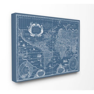 Stupell Canvas Vintage Blueprint World Map Stretched Canvas Wall Art