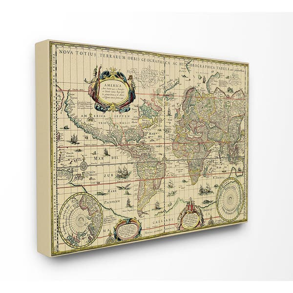 Shop Antique Explorer World Map Canvas Wall Art - On Sale ...