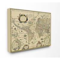Antique Explorer World Map Canvas Wall Art