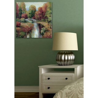 Bridge on River With Trees Changing Colors Stretched Canvas Wall Art