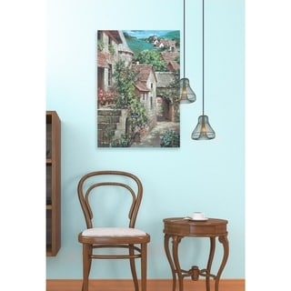Italian 'Country Village with Stairs' Stretched Canvas Wall Art