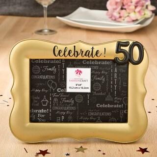 Gold Debossed Celebrate! 50th Frame