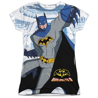 Batman Unlimited/Tech Cave Short Sleeve Junior Poly Crew in White