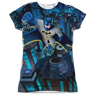 Batman Unlimited/Cityscape (Front/Back Print) Short Sleeve Junior Poly Crew in White