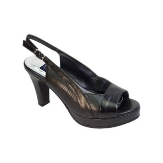 Fic Peerage Linda Women's Extra Wide Width Leather Platform Heels