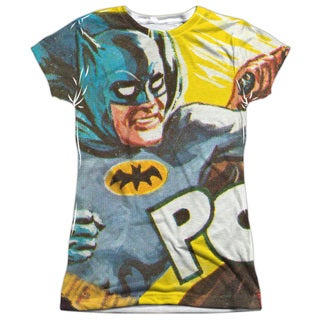 Batman Classic Tv/On The Chin Short Sleeve Junior Poly Crew in Sublimate White