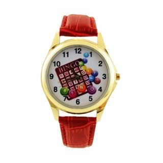 Womens Bingo Dial Watch with Red Faux Leather Band Easy Read Dial